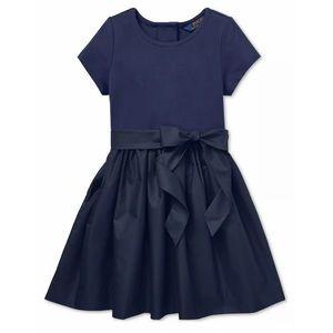 NWT RALPH LAUREN Holiday Navy Girl Bow Belt Dress